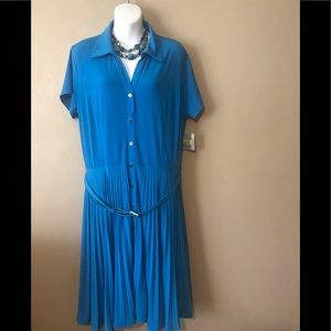 Kasper turquoise pleated dress size PXL,polyester